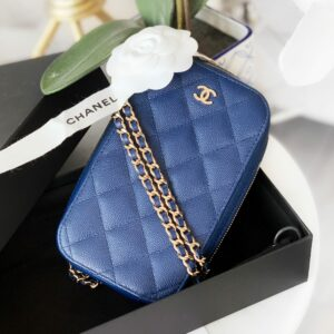 Chanel Navy Blue Caviar SHW Classic Clutch with Chain